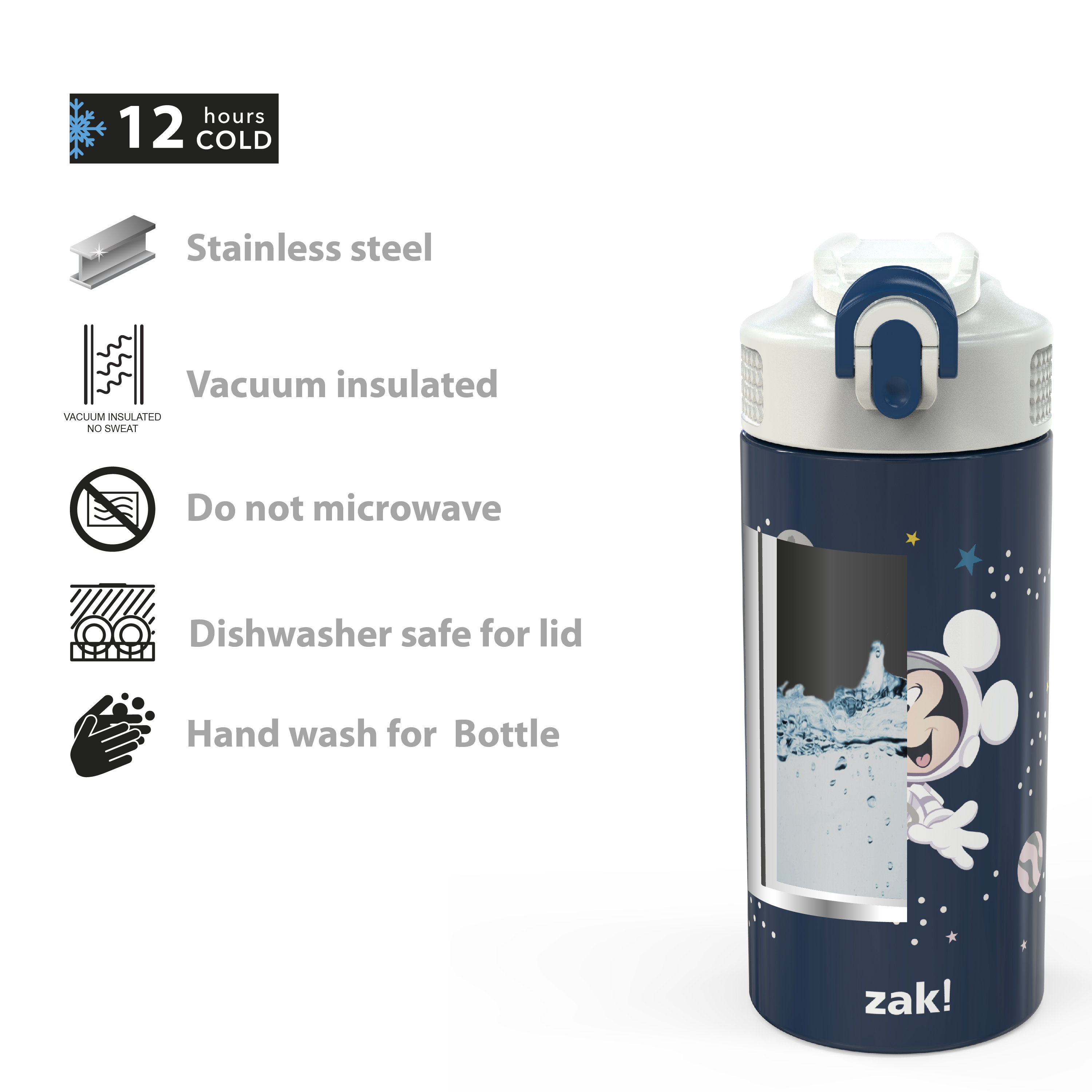 Disney 14 ounce Stainless Steel Vacuum Insulated Water Bottle, Mickey Mouse slideshow image 5