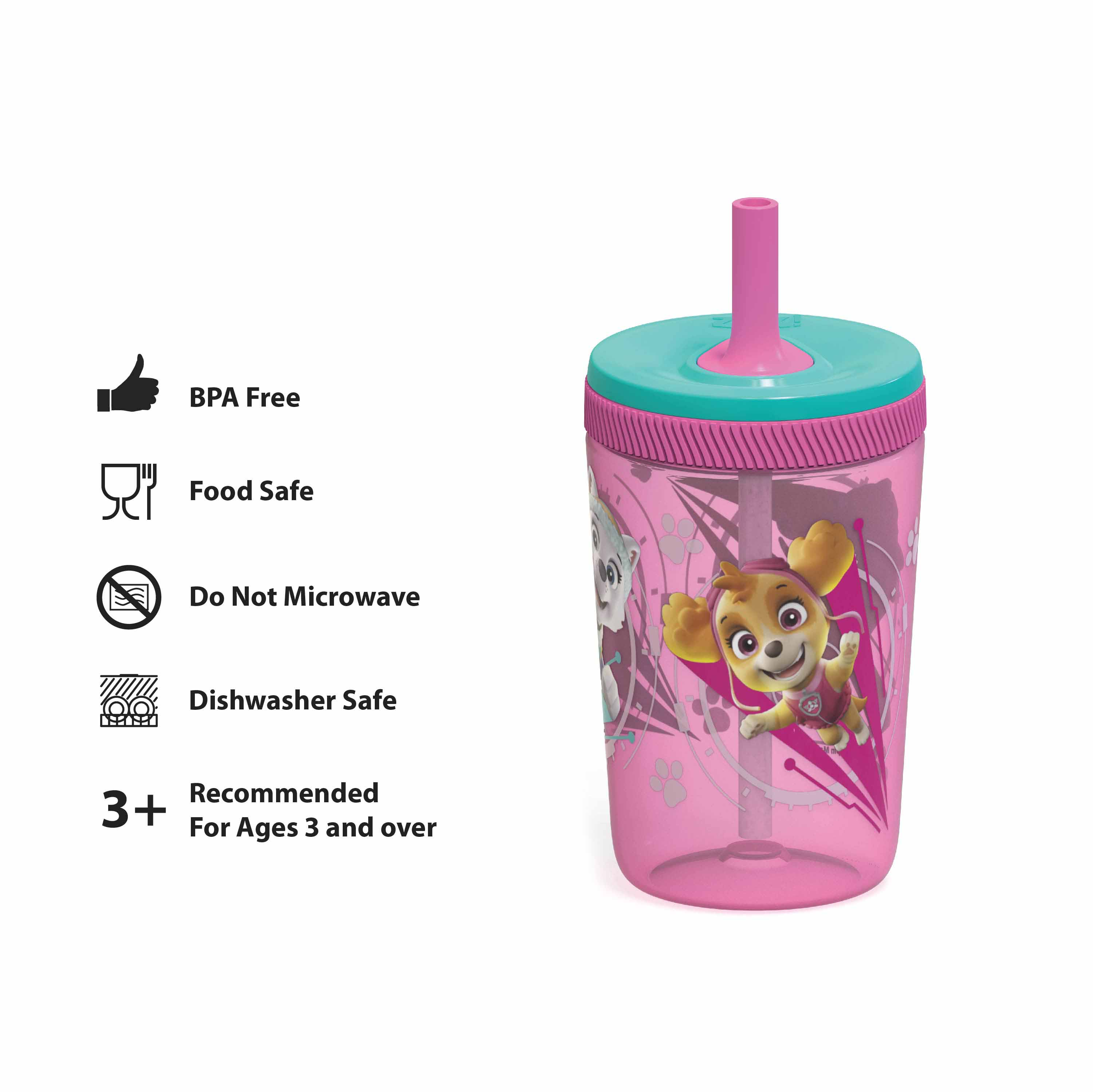 Paw Patrol 15  ounce Plastic Tumbler with Lid and Straw, Marshall and Skye, 2-piece set slideshow image 5