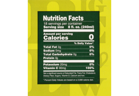 Nutritional panel of Green Tea with Elderberry plus Vitamin C box