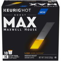 MAX Boost by Maxwell House 1.25x Caffeine Medium Roast Ground Coffee K-Cup Pods, 18 count