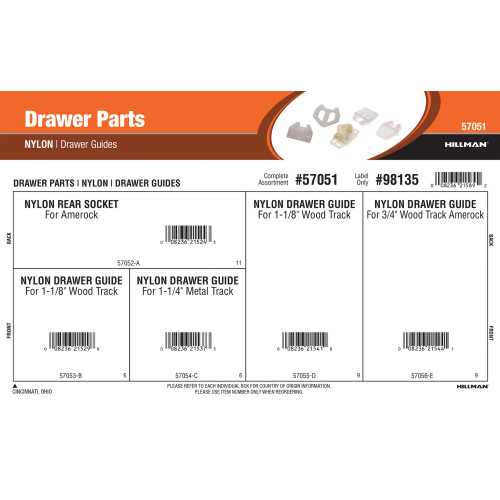 Nylon Drawer Parts Assortment (Drawer Guides)