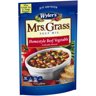 Wyler's Mrs. Grass Homestyle Beef Vegetable Hearty Soup Mix 7.48 oz Pouch