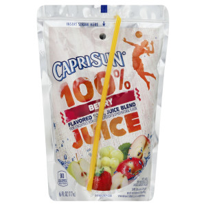CAPRI SUN 100% Juice Berry Pouch, 6 oz. Pouches (Pack of 40) image