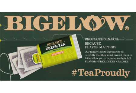 Top of Green Tea Decaf Tea box of 40 tea bags