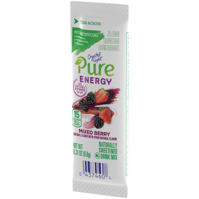 Crystal Light Pure Energy Mixed Berry Drink Mix with Caffeine and B Vitamins 0.31 oz Wrapper