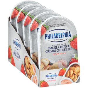 PHILADELPHIA Bagel Chips & Strawberry Cream Cheese Dip, 2.5 oz. Tray (Pack of 10) image