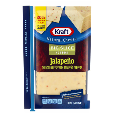 Kraft Big Slice Jalapeno White Cheddar Natural Cheese Slices 10 slices - 7.5 oz Wrapper
