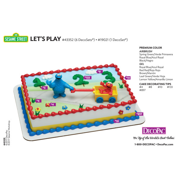 Sesame Street Let's Play Cake Decorating Instruction Card