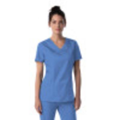 Landau ProFlex Mock Wrap Scrub Top for Women: 3 Pocket, Modern Tailored Fit, Stretch, Medical 4161-Landau