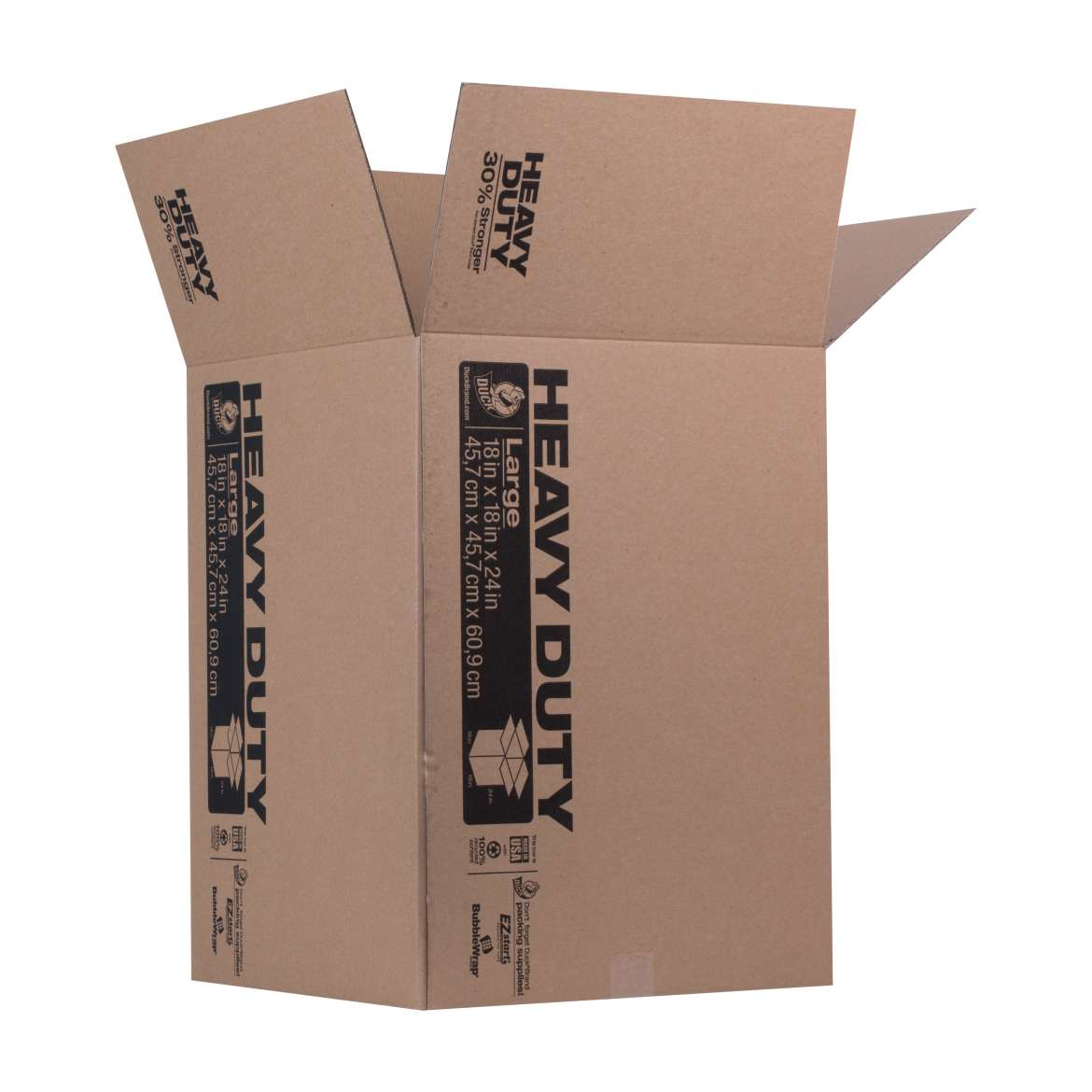Duck® Brand Heavy Duty Kraft Box - Brown, 18 in. x 18 in. x 24 in. Image