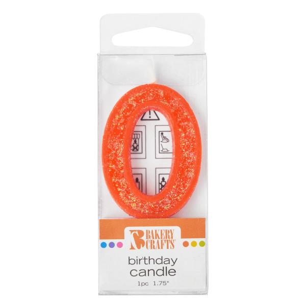 0 Mini Glitter Numeral Candles