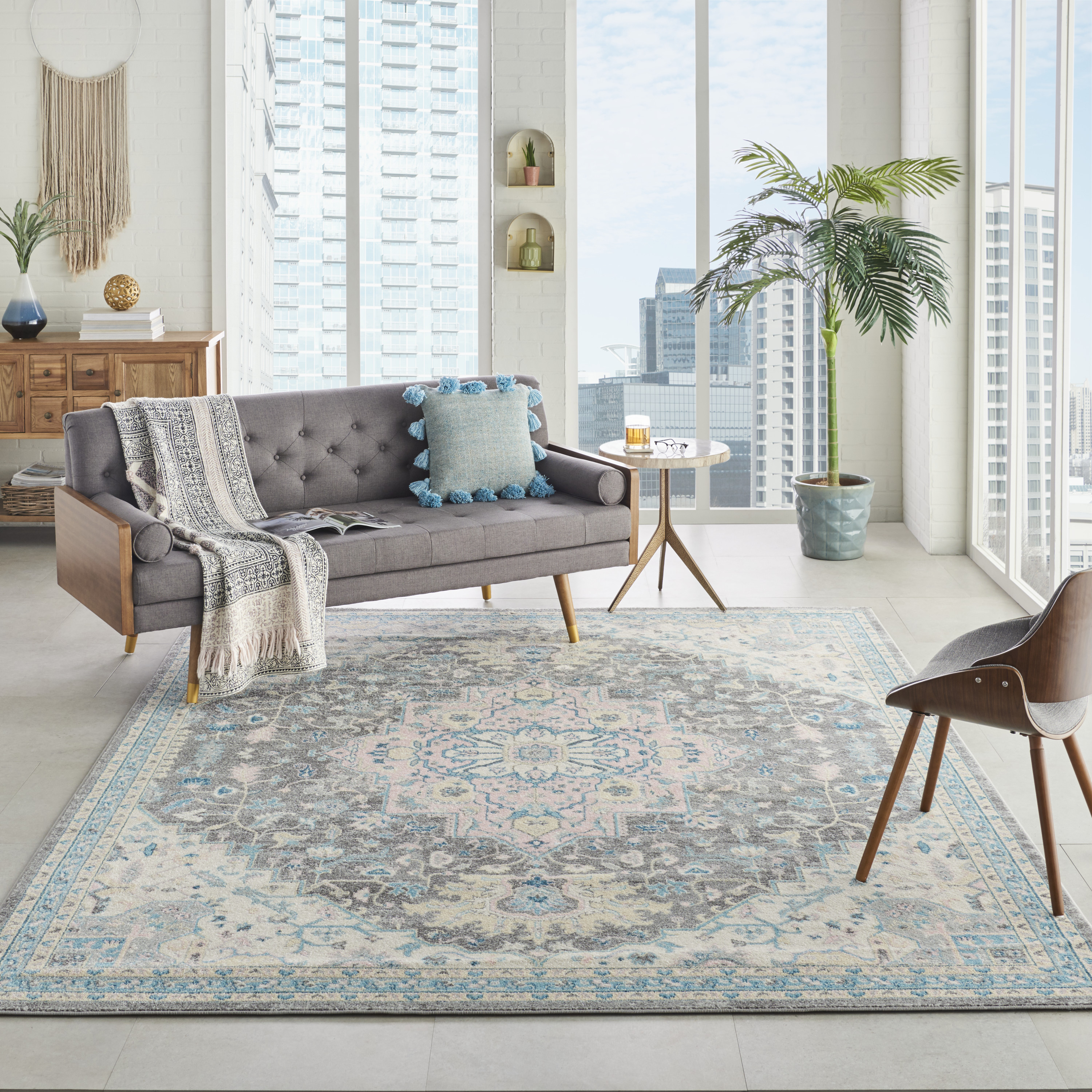 Nourison Tranquil TRA07 Light Grey Multicolor Rug