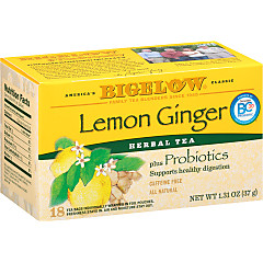Lemon Ginger Herbal Tea + Probiotics - Case of 6 boxes - total of 108 tea bags