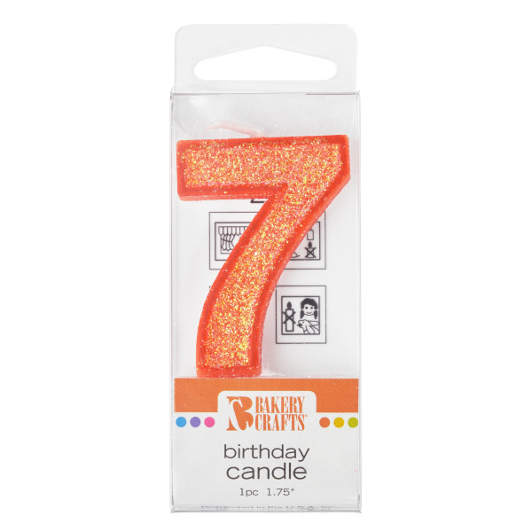 7 Mini Glitter Numeral Candles
