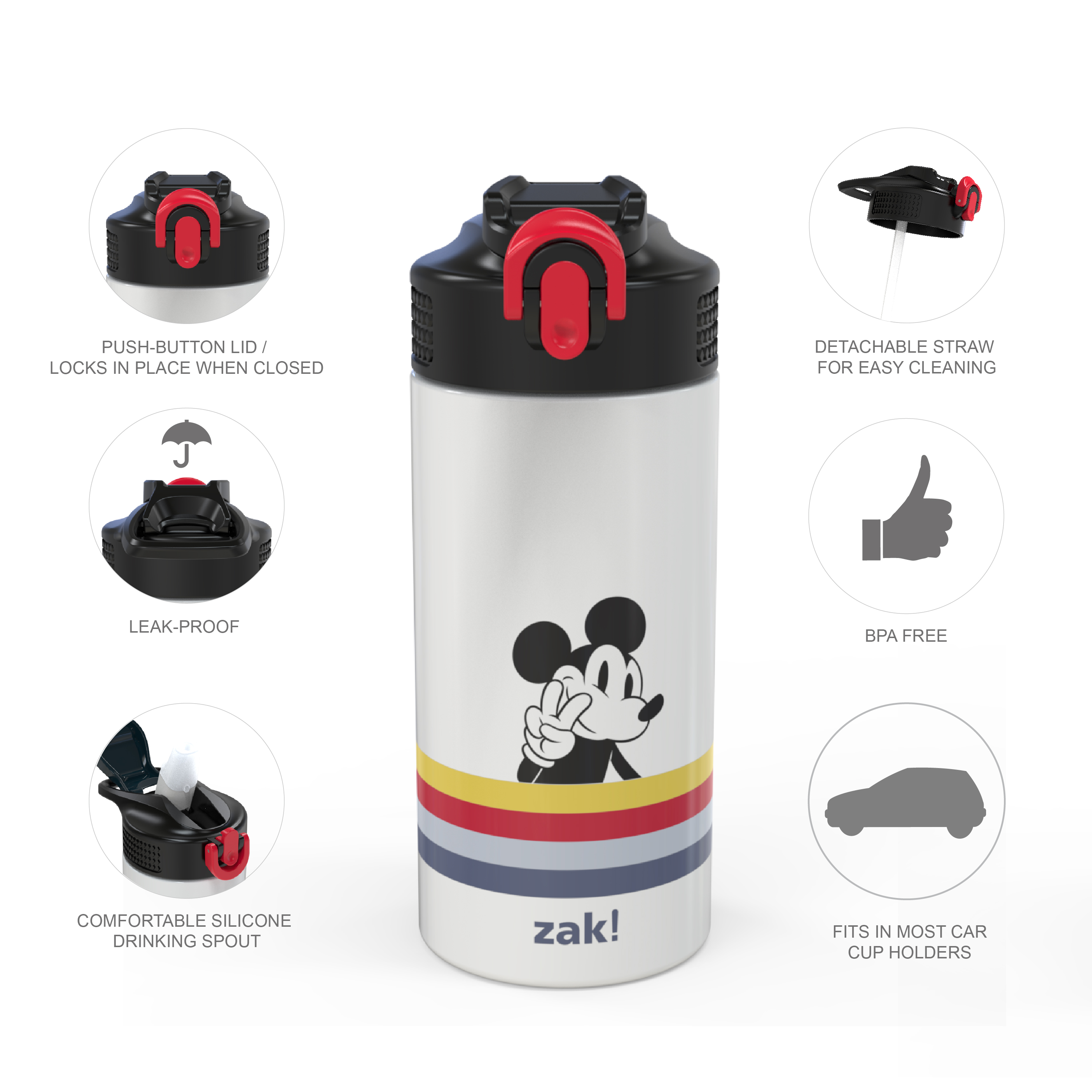 Disney 14 ounce Stainless Steel Vacuum Insulated Water Bottle, Mickey Mouse and Minnie Mouse slideshow image 3