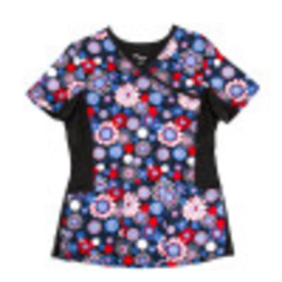 Landau All Day 3 Pocket Scrub Top for Women - Modern Tailored Fit, Knit Side Panels, Mock Wrap Medical Scrubs 4167-