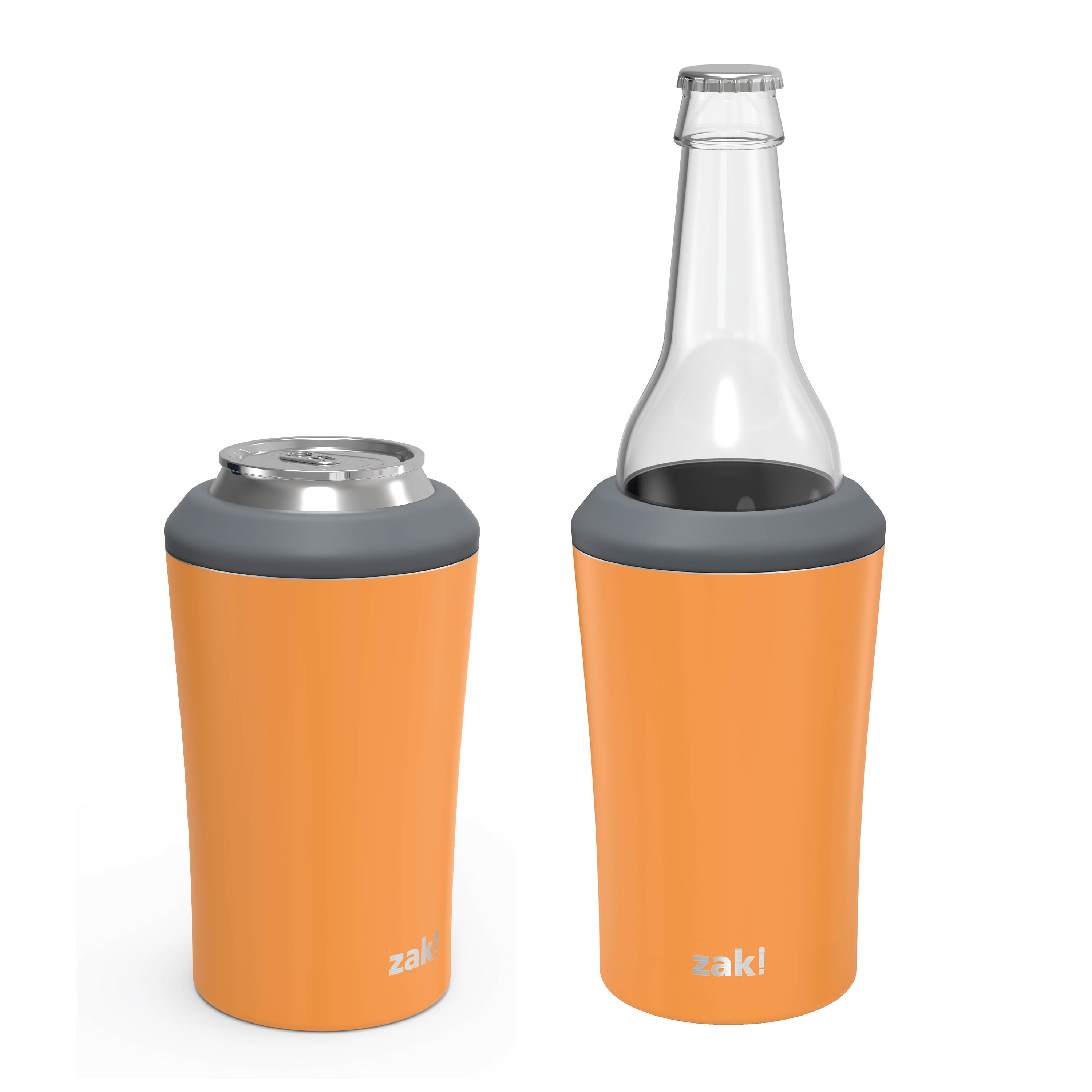 Zak Hydration 12 ounce Double Wall Stainless Steel Can and Bottle Cooler with Vacuum Insulation, Tangerine slideshow image 6