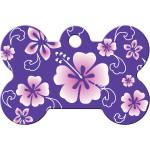 Purple Hawaiian Flowers Large Bone Quick-Tag