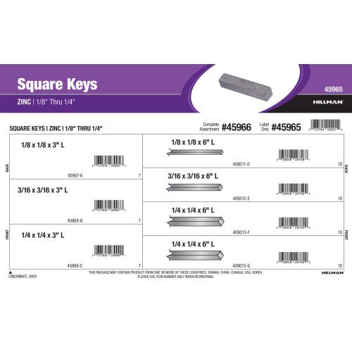 Zinc Long Square Keys Assortment (1/8