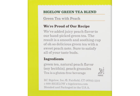 Ingredient panel of Green Tea with Peach box