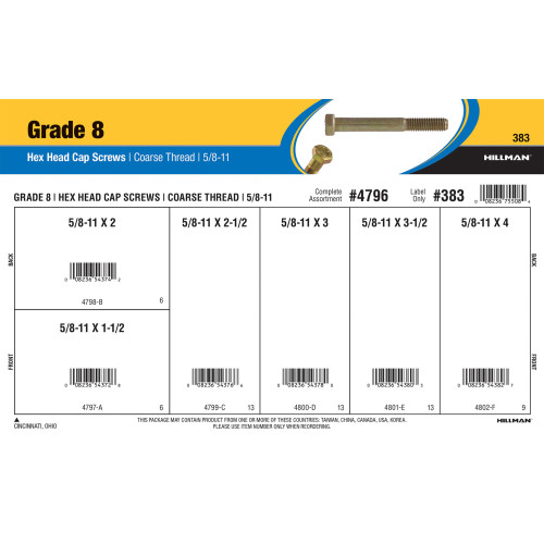 Grade 8 Hex Cap Screws Assortment (5/8