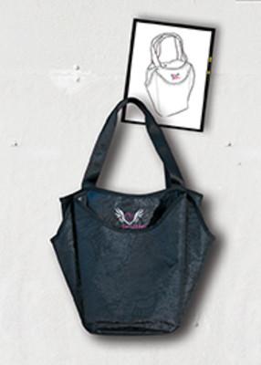 Smitten Blackout Tote Handbag with 4 Large Exterior / Interior Pockets, Nurse Bag-