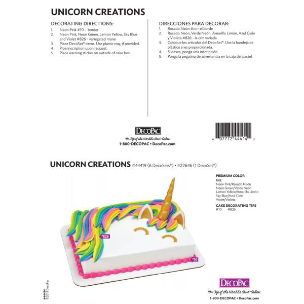 Unicorn Creations Signature Cake Decorating Instruction Card