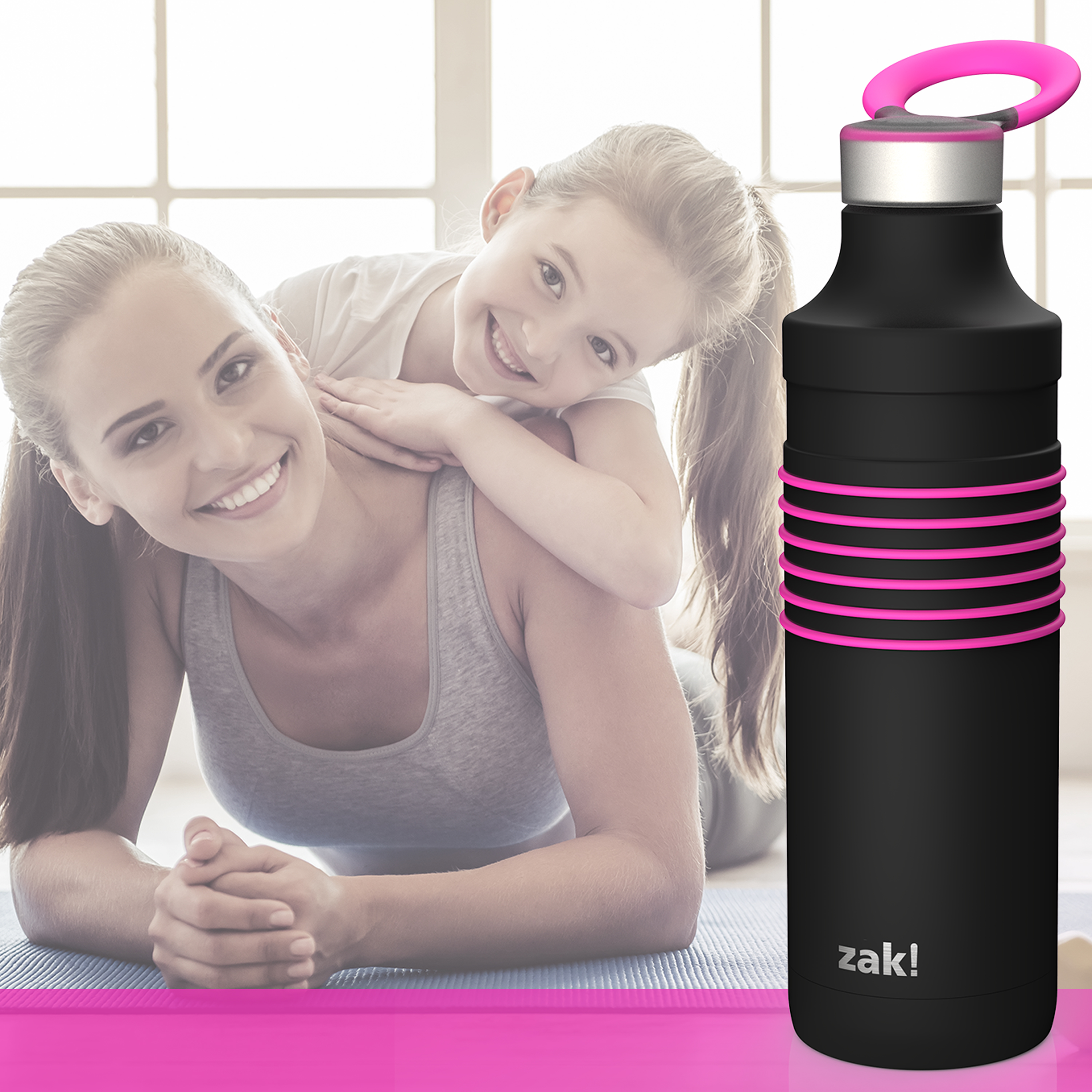 HydraTrak 22 ounce Vacuum Insulated Stainless Steel Tumbler, Black with Pink Rings slideshow image 4