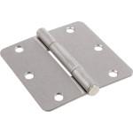 """Hardware Essentials Squeak-Proof 1/4"""" Round Corner Satin Nickel Door Hinges (3-1/2"""")"""