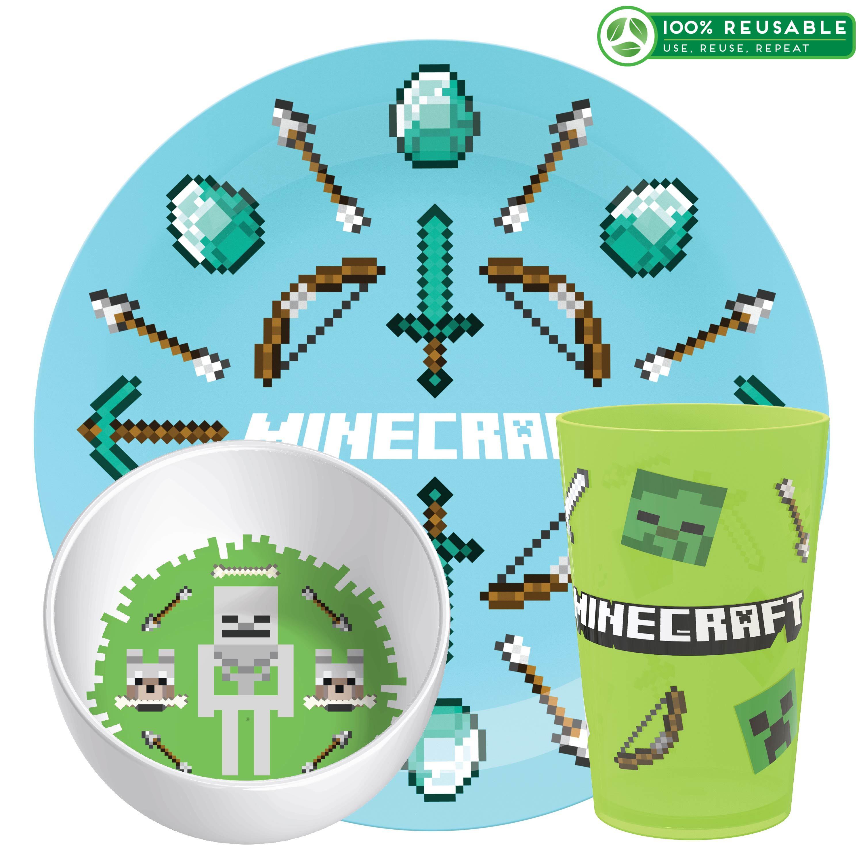Minecraft Kid's Dinnerware Set, Favorite Minecraft Characters, 3-piece set slideshow image 1