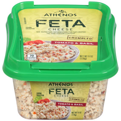 Athenos Crumbled Tomato & Basil Feta Cheese 6 oz Tub