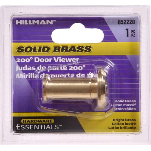 200 Degree Solid Brass/Bright Brass Door Viewer