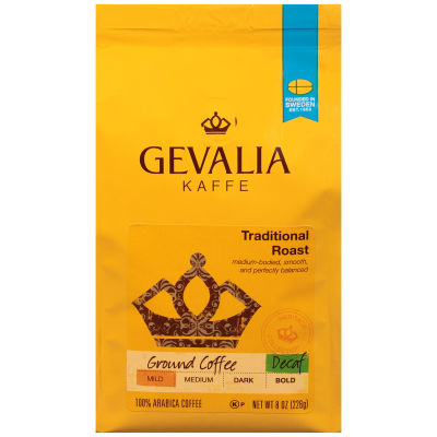 Gevalia Traditional Decaffeinated Ground Coffee 8 oz Bag