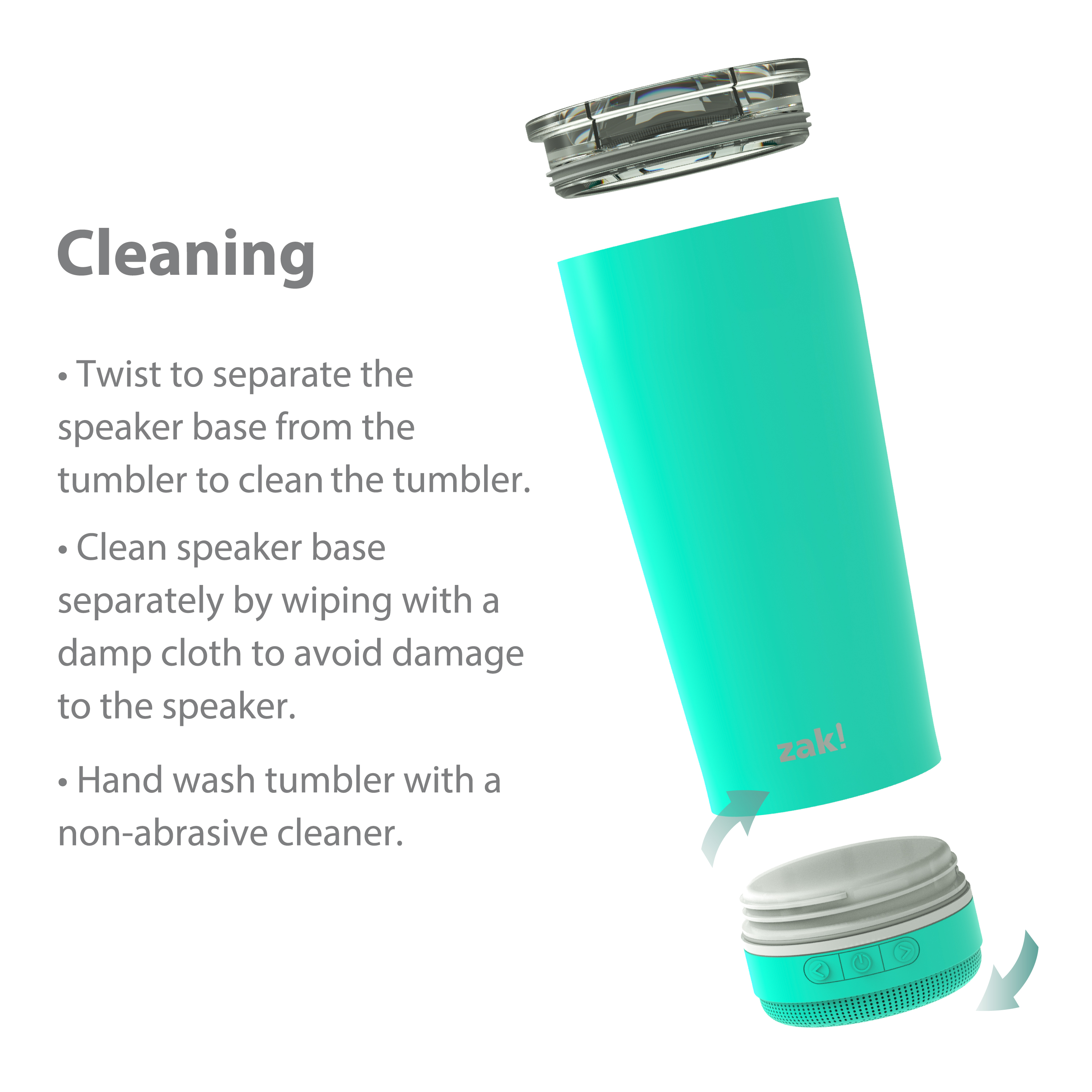 Zak Play 18 ounce Stainless Steel Tumbler with Bluetooth Speaker, Teal slideshow image 7