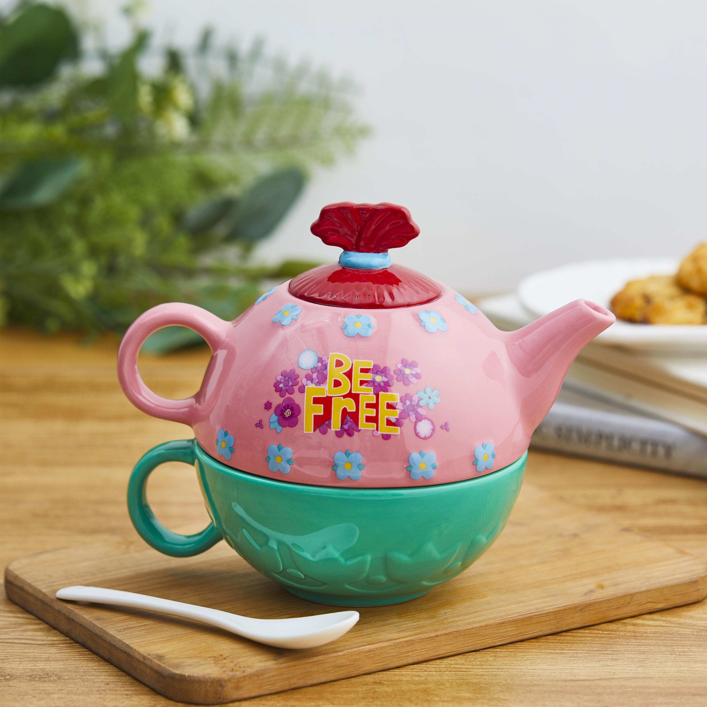 Trolls 2 Movie Sculpted Ceramic Tea Set, Be Free!, 4-piece set slideshow image 4