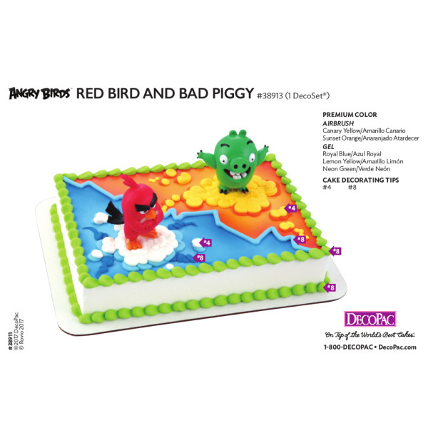 Angry Birds Red Bird & Bad Piggy Cake Decorating Instruction Card