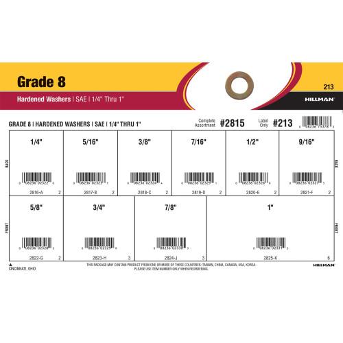 Grade 8 SAE Hardened Flat Washers Assortment (1/4