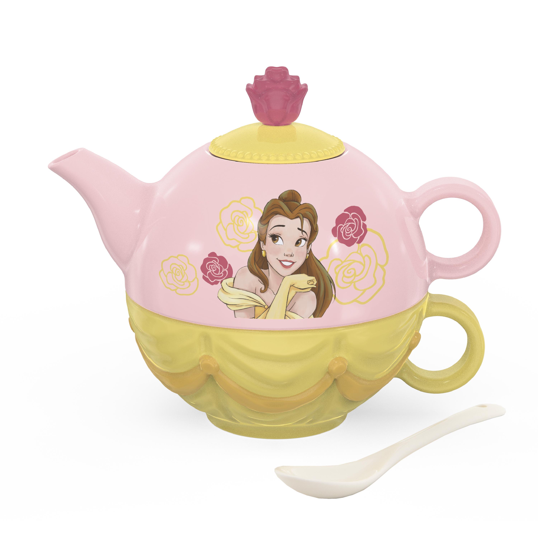 Disney Princess Sculpted Ceramic Tea Set, Princess Belle, 4-piece set slideshow image 1