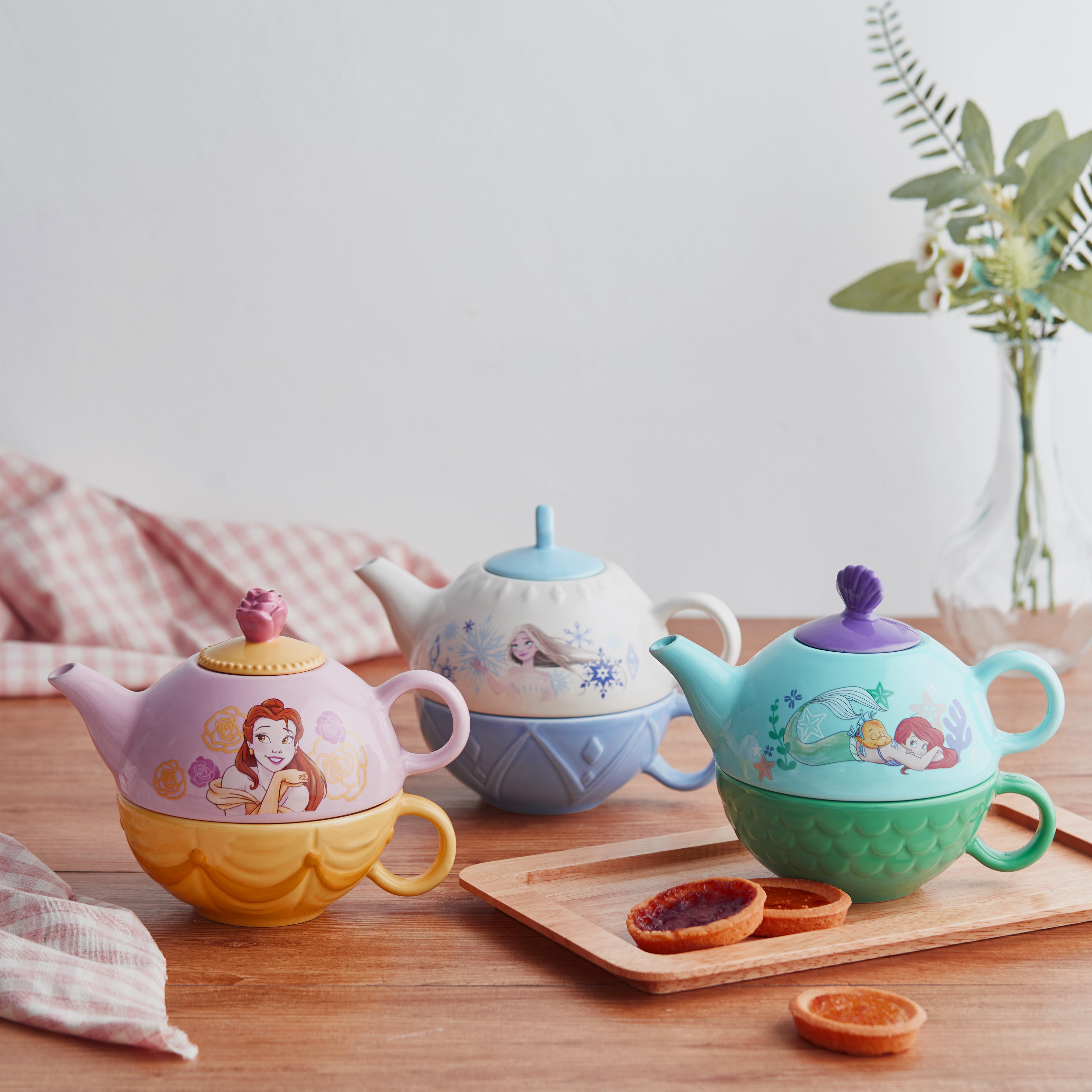 Disney The Little Mermaid Sculpted Ceramic Tea Set, Princess Ariel, 4-piece set slideshow image 7