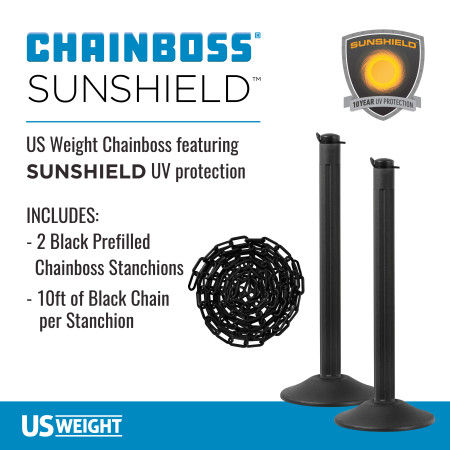 ChainBoss Stanchion - Black Filled with Black Chain 2