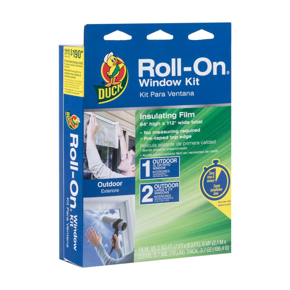 Roll on window insulation kit clear 84in x 112in duck brand for Window insulation kit