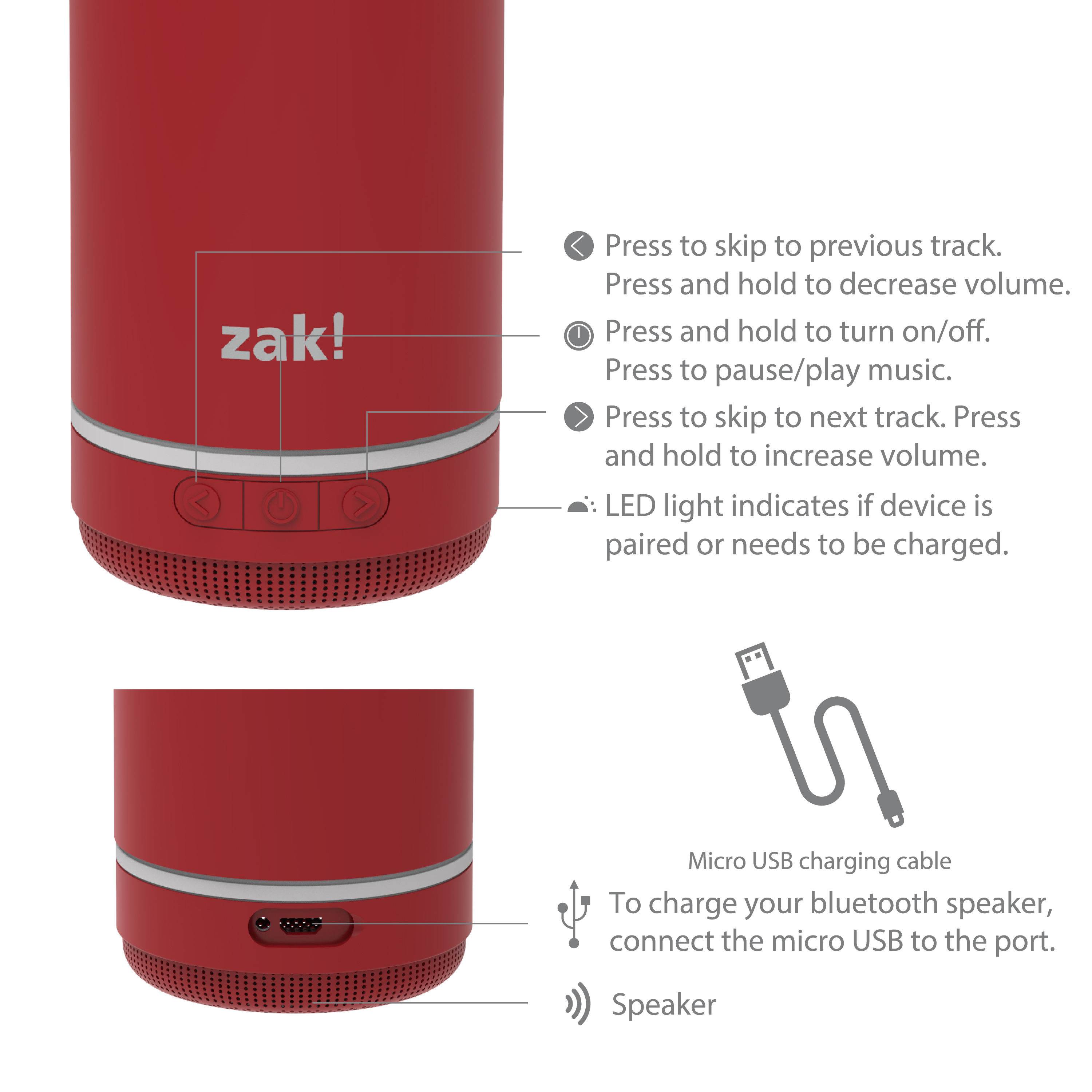 Zak Play 18 ounce Stainless Steel Tumbler with Bluetooth Speaker, Red slideshow image 10