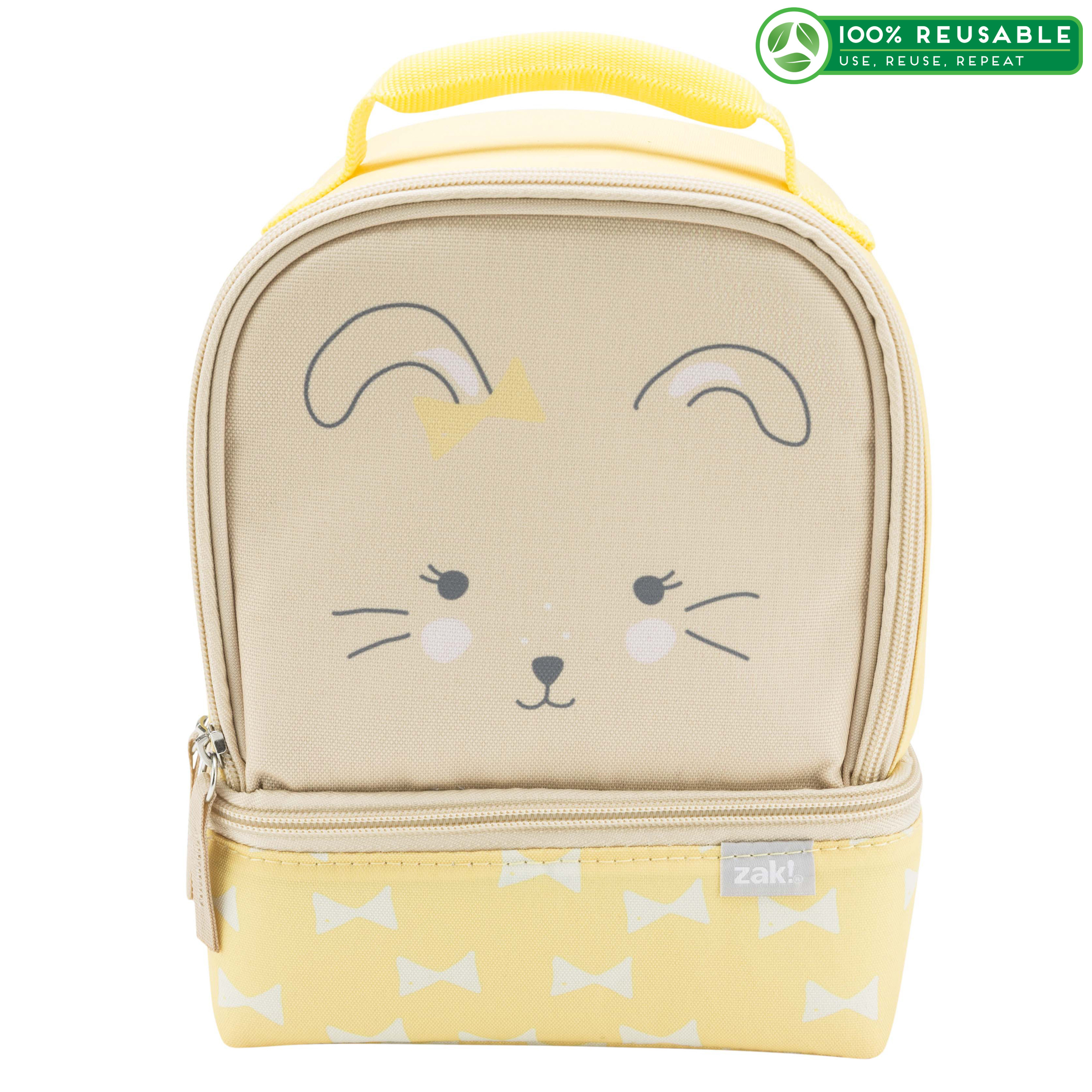 Soft Lines 2-compartment Reusable Insulated Lunch Bag, Bunnies slideshow image 1