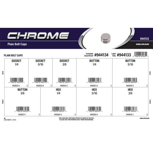 Chrome Plain Bolt Caps Assortment
