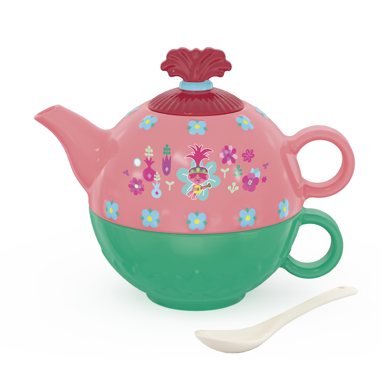 Trolls 2 Movie Sculpted Ceramic Tea Set, Be Free!, 4-piece set slideshow image 1
