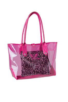 Smitten GetLoud 3 in 1 Transparent Pink Tote with Animal Print Removable Clutch with Wristlet Nurse Bag-