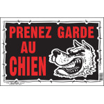"French Beware of Dog Sign (8"" x 12"")"