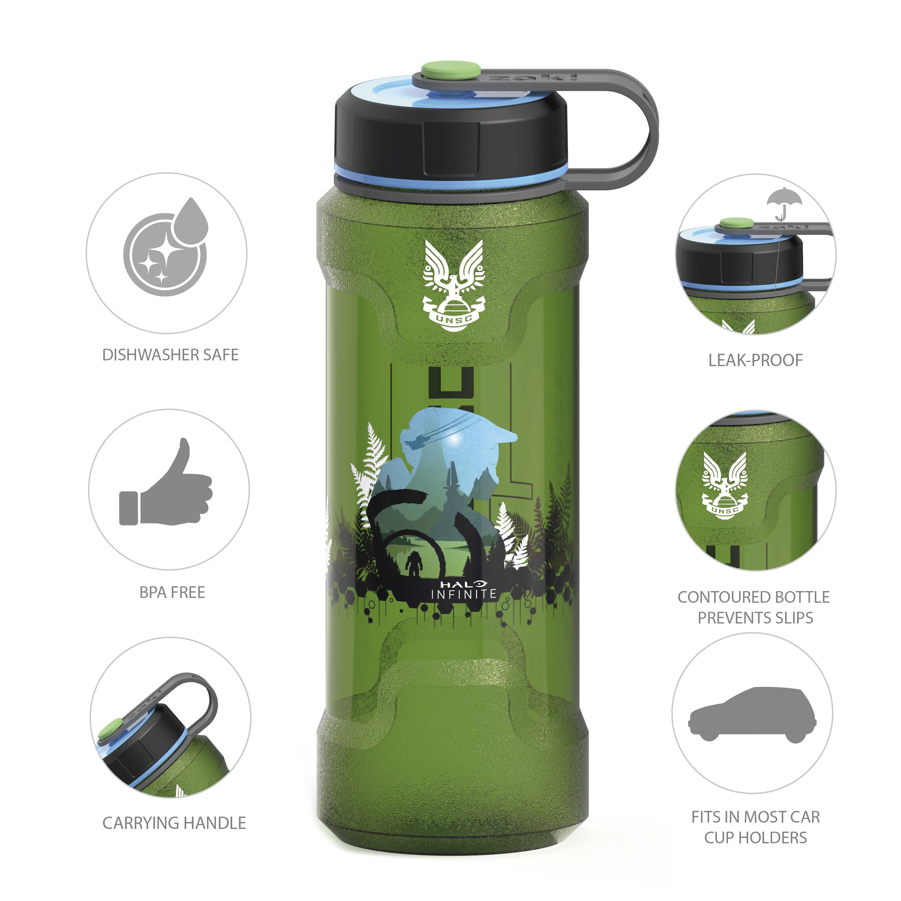 Halo 36 ounce Reusable Plastic Water Bottle, United Nations Space Command slideshow image 4