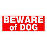 "Red Rectangular Beware of Dog Sign, 6"" x 15"""