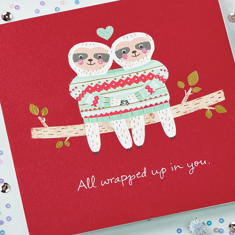Romantic Sloths Greeting Card - Christmas, Happy Holidays, New Year, Hanukkah image